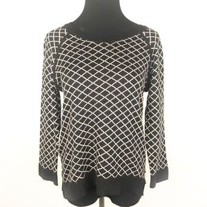 PHILOSOPHY | Black White Diamond Knit Sweater M